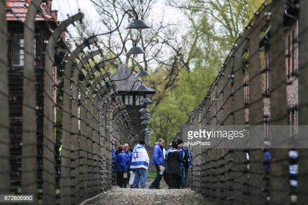 Participants during the 'March of the Living' at the former NaziGerman Auschwitz Birkenau concentration and extermination camp at Oswiecim Poland on...