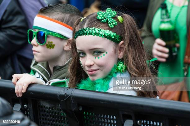 Participants enjoy during the annual St Patricks Day at Trafalgar Square on March 19 2017 in London England People celebrate Ireland's National...