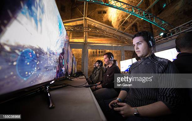 Participants enjoy the new game inside the courtyard of Balzer's Castle during the HALO 4 launch by Xbox 360 on October 30 2012 in Balzers...