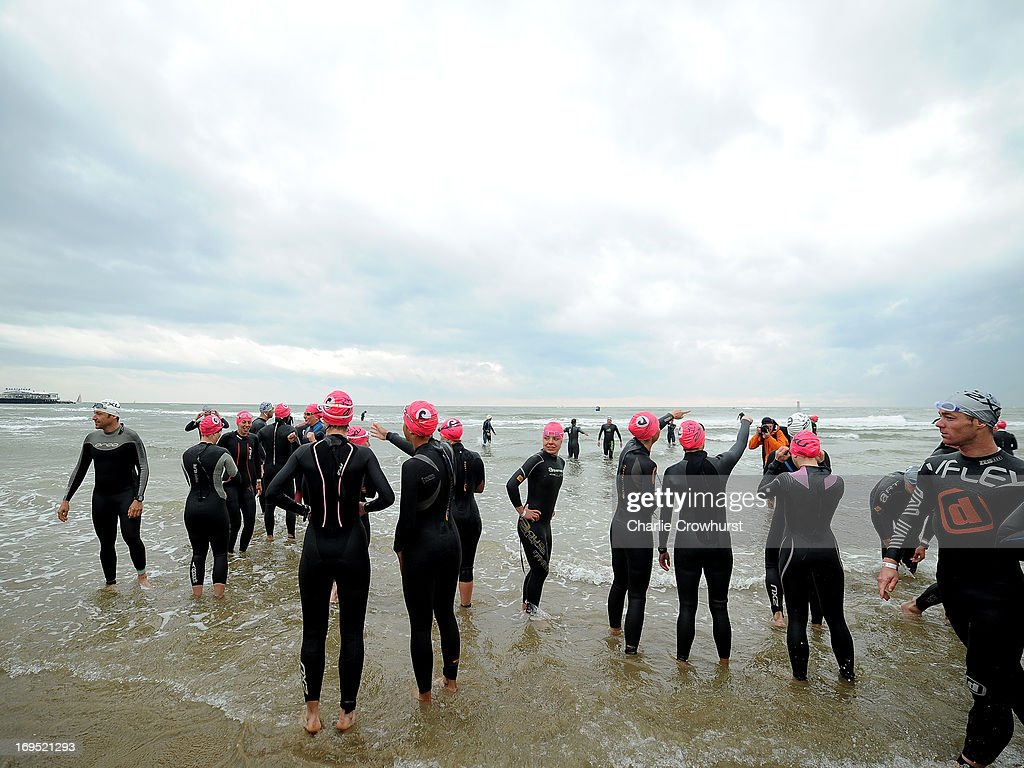 Participants eye up the sea before the race starts during the Challenge Family Triathlon Rimini on May 26, 2013 in Rimini, Italy.