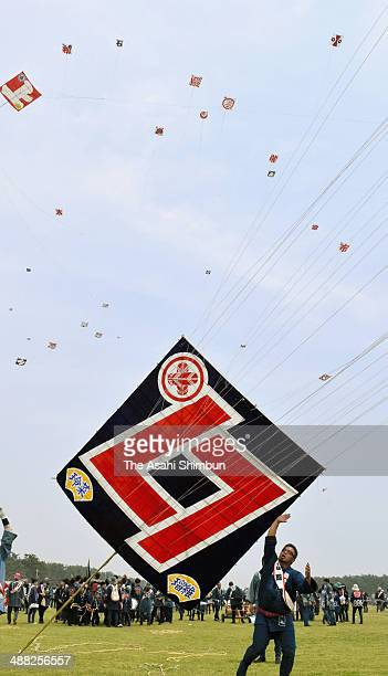 Participants fly kites during the Hamamatsu Festival on May 3 2014 in Hamamatsu Shizuoka Japan
