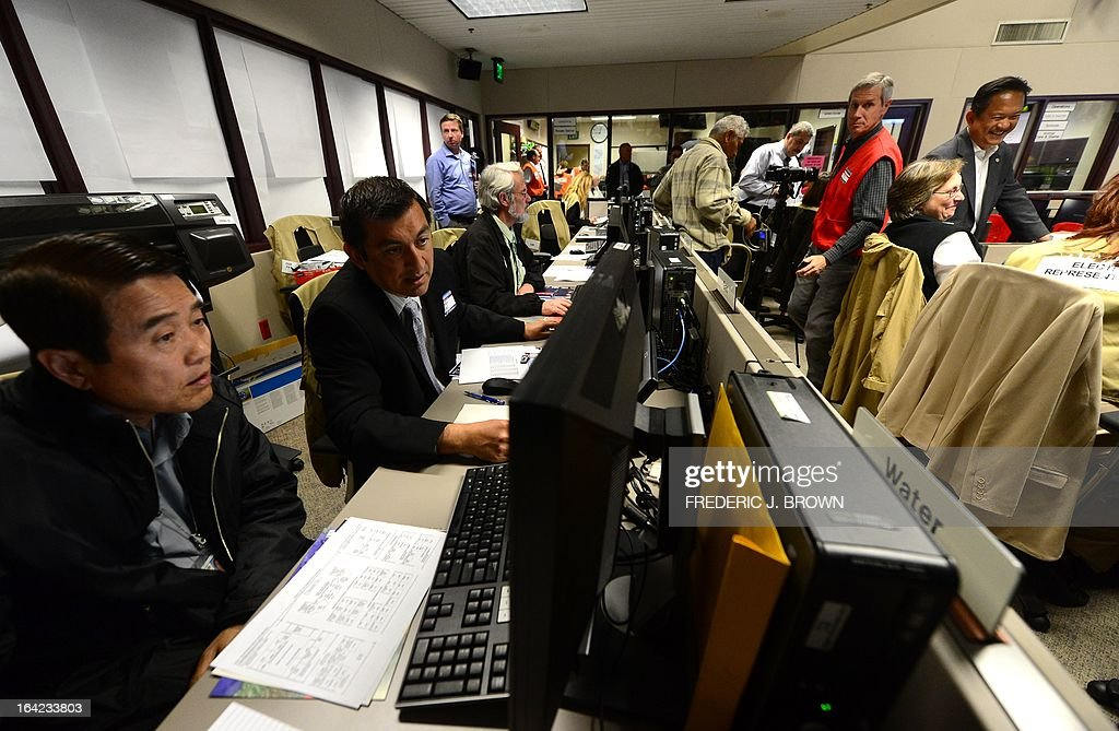 Participants from various City departments monitor their screens at the Command Center of the Office of Emergency Management in Los Angeles, California, during a functional exercise for first responders in a simulated 7.8 magnitude earthquake drill on March 21, 2013. This year's exercise featured the California Integrated Seismic Network's Earthquake Early Warning Demonstration System and participation from 53 City emergency operations centers, including some departments and organizations such as Fire, Water, Coroner, Sheriff and Public Works as well as the American Red Cross and Emergency Network Los Angeles. The functional exercise is a training event designed to test and evaluate selected emergency functions and the interaction of various levels of government, response organizations, volunteer groups, and industry in a simulated environment, usually involving key decision makers, the local emergency operations center and representatives from response and support organizations. AFP PHOTO/Frederic J. BROWN