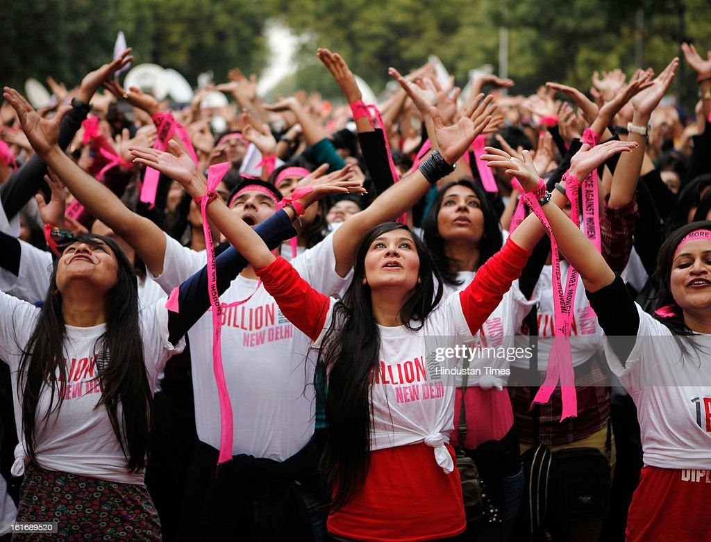 Participants from various organizations participating in One Billion Rising Flash Mob at Parliament street on February 14, 2013 in New Delhi, India. One Billion Rising is campaign against violence on women.