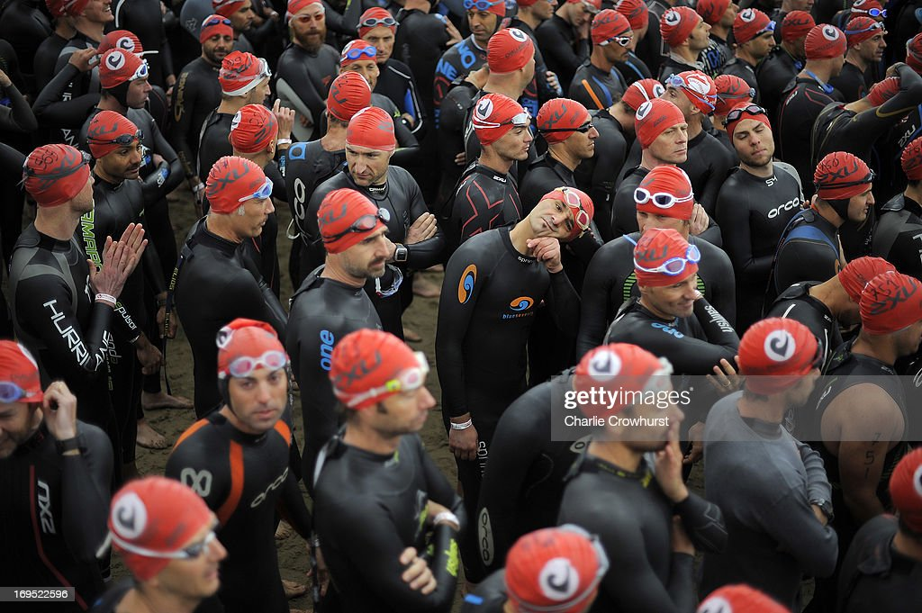Participants get ready to begin the swim during the Challenge Family Triathlon Rimini on May 26, 2013 in Rimini, Italy.