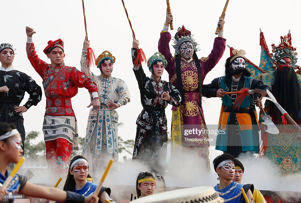 Participants in a Songjiang battle troupe perform on March 15, 2014 in Neimen, Kaoshiung, Taiwan. Songjiang Battle Array or Song Jiang Zhen is a folk martial art particular to Taiwan. The martial art dates to the Ming Dynasty and draws inspiration from the Chinese epic novel, 'Outlaws of the Marsh.' A lot of the weapons used in the martial art were originally modifications of agricultural implements and farming tools, as it evolved as a self-defense military tactic for Taiwanese farmers against invaders. Every year, an intercollegiate Songjiang Battle Array competition is held in Neimen, coinciding with the festival marking the birthday of Guanyin Buddha.