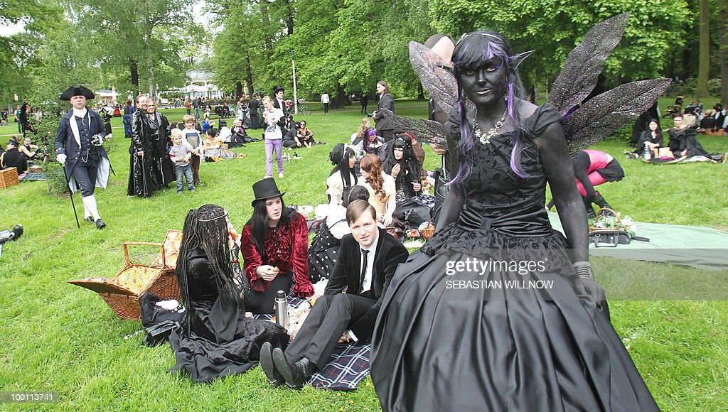 Participants in an annual Wave-Gothic festival arrive on May 21, 2010 in Leipzig, eastern Germany, where more than 20 000 people are expected to attend the festival attracting the friends of gothic romanticism. The festival offers a very special spectacle with a range of concerts, historical markets, theatre and cinema, gothic scene performances, exhibitions, readings and parties.