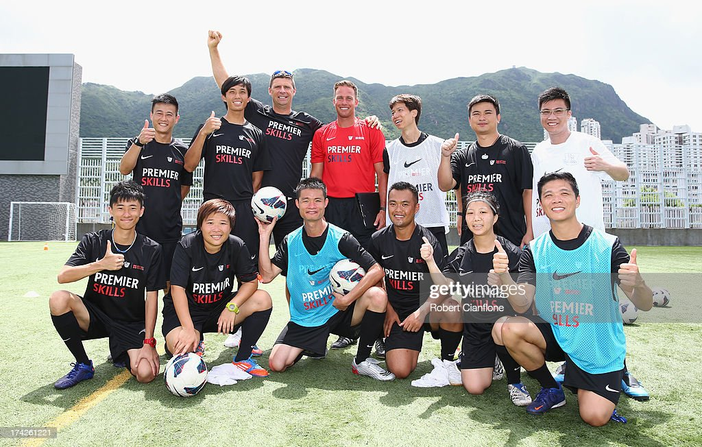 Participants in coaching course pose during the Premier Skills and Creating Chances open day on July 23, 2013 in Hong Kong, Hong Kong.