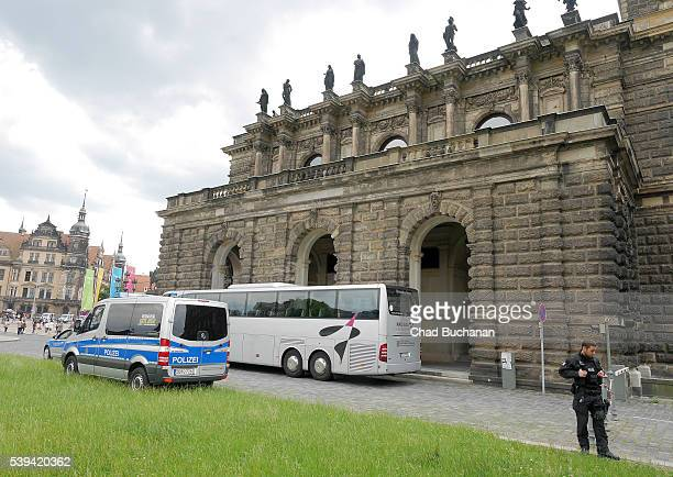 Participants in the 2016 Bilderberg arrive at the Dresden Opera House or 'Semperoper' during a group tour on Saturday afternoon June 11 2016 in...