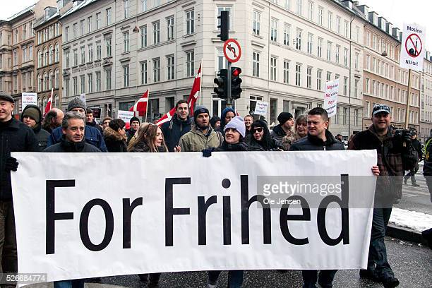 Participants in the antiMuslim demonstration in Copenhagen wich had participation of UK Pegida leaders Holding the sign are Paul Weston Anne Marie...