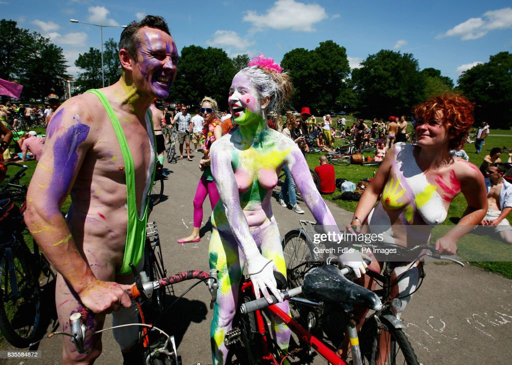 Participants in the Brighton leg of the World Naked Bike Ride move through the streets of Brighton, East Sussex to demonstrate the vulnerability of cyclists on the road and to protest against oil dependency.