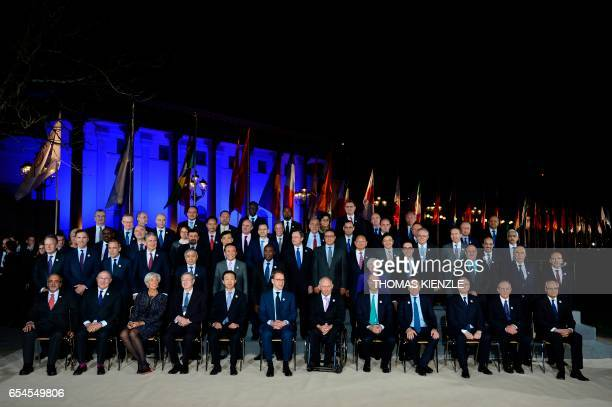 Participants in the G20 Finance Ministers and Central Bank Governors Meeting pose for the Family photo in BadenBaden southern Germany on March 17...