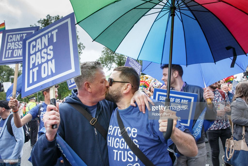 Participants kiss during the Glasgow Pride march on August 19, 2017 in Glasgow, Scotland. The largest festival of LGBTI celebration in Scotland has been held every year in Glasgow since 1996.