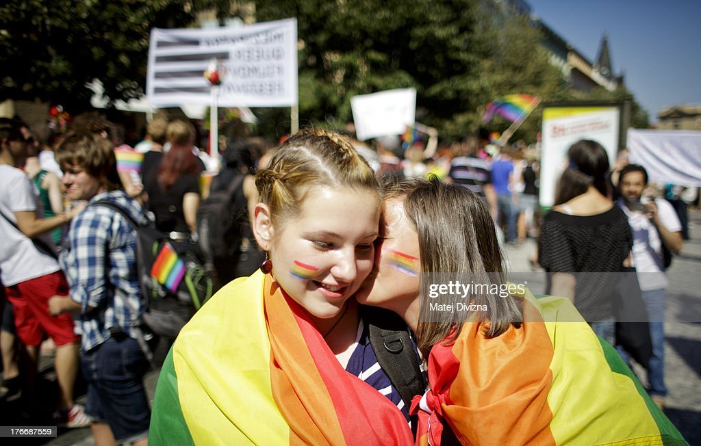 Participants kiss each other during the third Prague Pride March on August 17, 2013 in Prague, Czech Republic. Several thousand people marched through city centre in support of Lesbian, Gay, Bisexual and Transgenders (LGBT) rights.