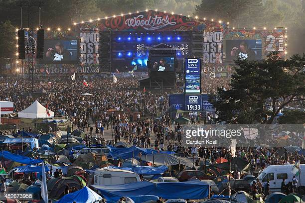 Participants living in tents close to the main stage during a concert at the 2015 Woodstock Festival Poland on August 1 2015 in Kostrzyn Poland The...