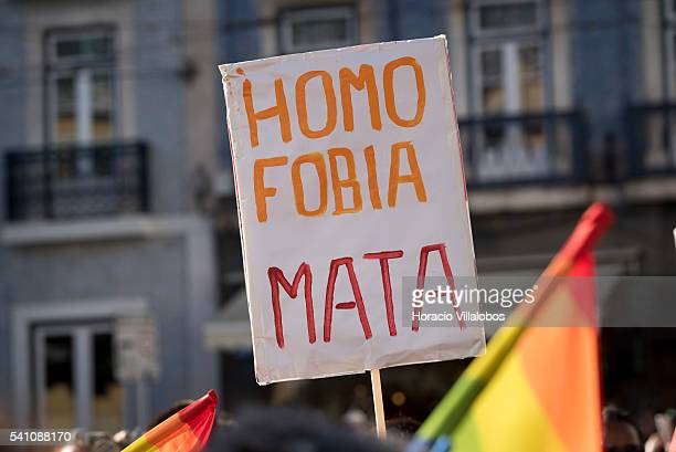 Participants march during the 17th LGBT parade on June 18 2016 in Lisbon Portugal Thousands gathered to march show LGBT pride and to pay homage to...