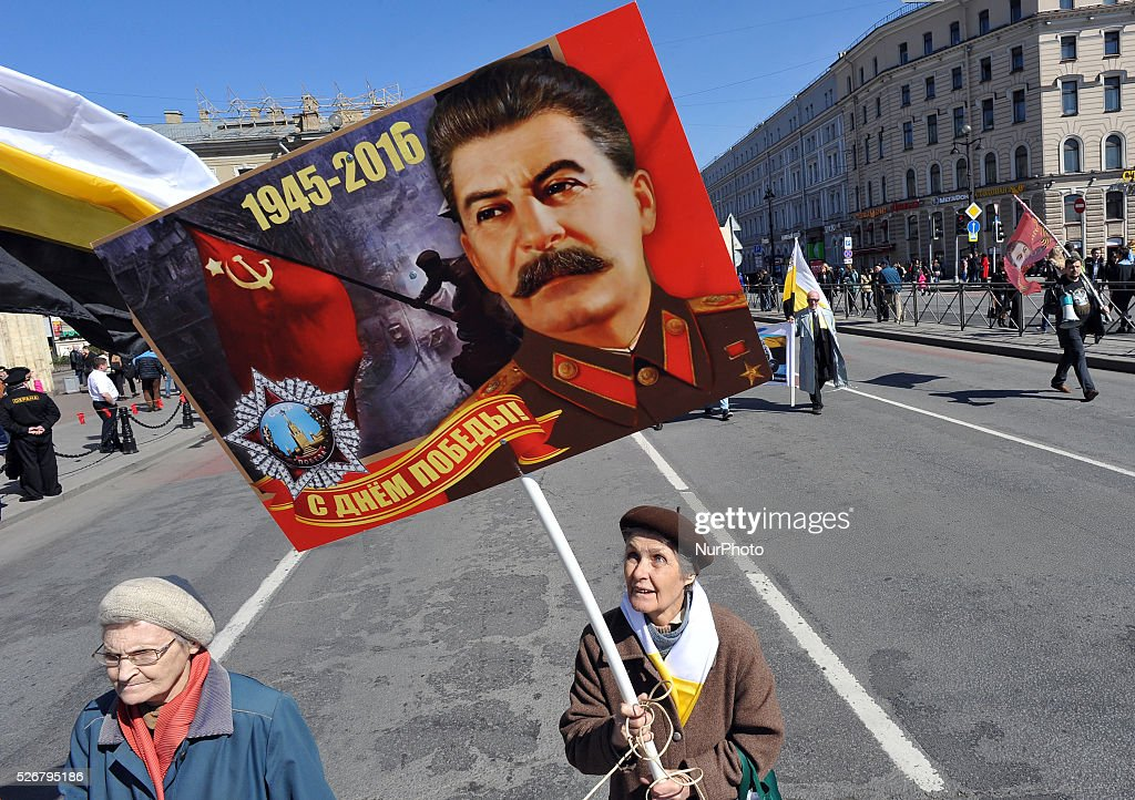 Participants march with portraits of former Soviet dictator Josef Stalin during the May Day demonstration in St. Petersburg, Russia, on May, 1, 2016. Labor Day or May Day is observed all over the world on the first day of the May to celebrate the economic and social achievements of workers and fight for laborers rights.