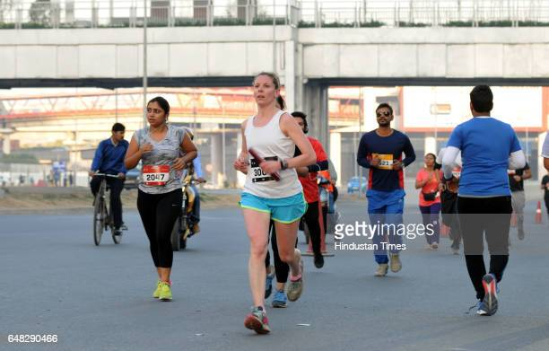 Participants of 5K and 10K running organized by Runners for life at cyber city on March 5 2017 in Gurgaon India
