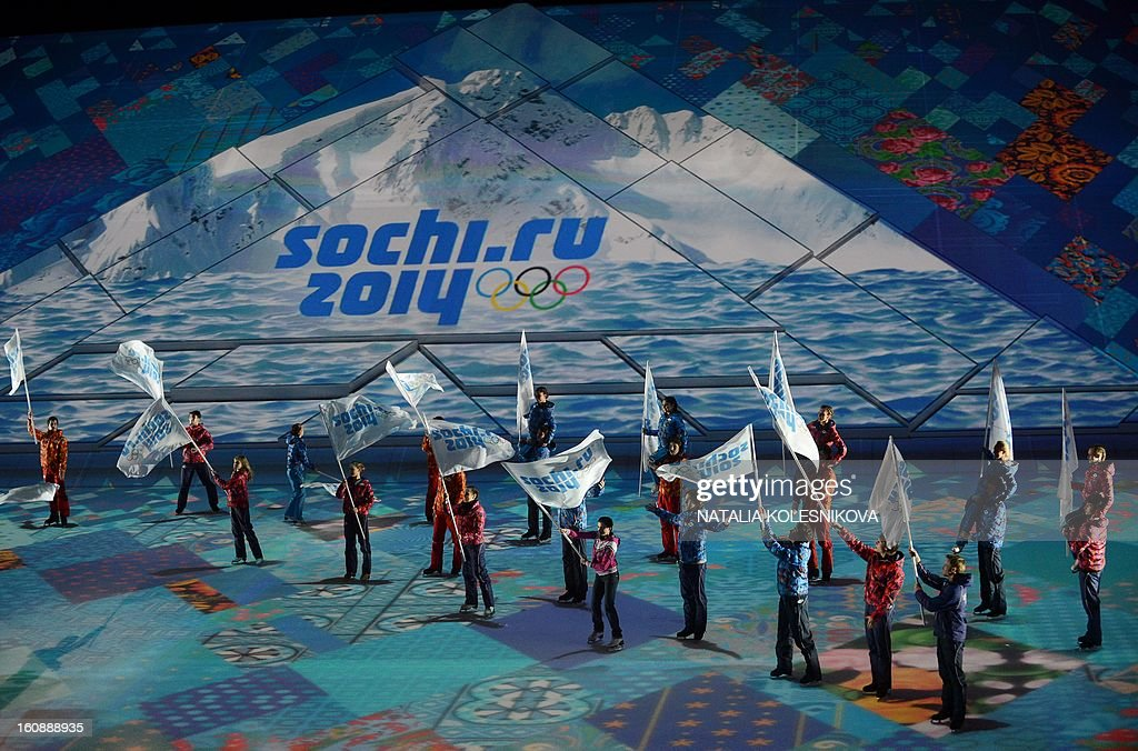 Participants of a ceremony celebrating the one year countdown to the Sochi 2014 Winter Olympics opening perform at the Bolshoi Ice Dome rink in the Black Sea city of Sochi, on February 7, 2013. Putin vowed today Russia would justify expectations when it hosts the Winter Olympic Games in Sochi in one year, after ruthlessly firing an official blamed for delays in building infrastructure. AFP PHOTO / NATALIA KOLESNIKOVA