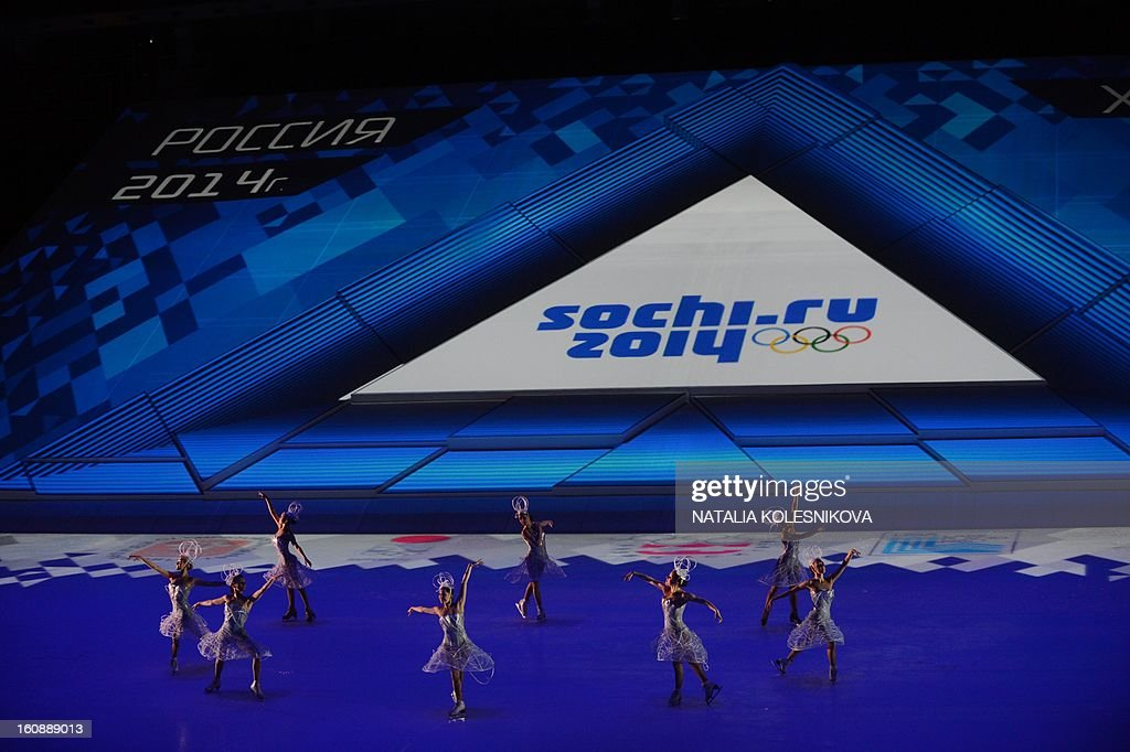 Participants of a ceremony celebrating the one year countdown to the Sochi 2014 Winter Olympics opening perform at the Bolshoi Ice Dome rink in the Black Sea city of Sochi, on February 7, 2013. Putin vowed today Russia would justify expectations when it hosts the Winter Olympic Games in Sochi in one year, after ruthlessly firing an official blamed for delays in building infrastructure.