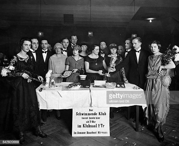 Participants of a dancing contest Wanda Treumann is handing over the cup to the winner of a dancing contest in the Scala Theater Berlin undated...