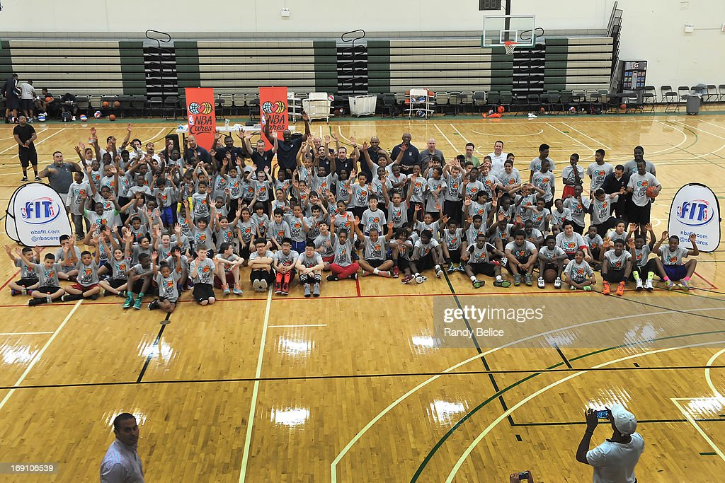 Participants of a NBA Cares Basketball Clinic as part of the 2013 NBA Draft Combine pose for a group photo on May 18, 2013 at Quest Multiplex in Chicago, Illinois.