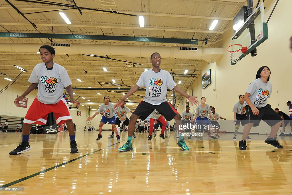 Participants of a NBA Cares Basketball Clinic complete a drill as part of the 2013 NBA Draft Combine on May 18, 2013 at Quest Multiplex in Chicago, Illinois.