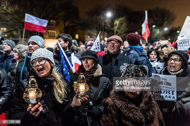 Participants of an antigovernment demonstration gather in front of the private house of Jaroslaw Kaczynski leader of Poland's ruling party Law and...