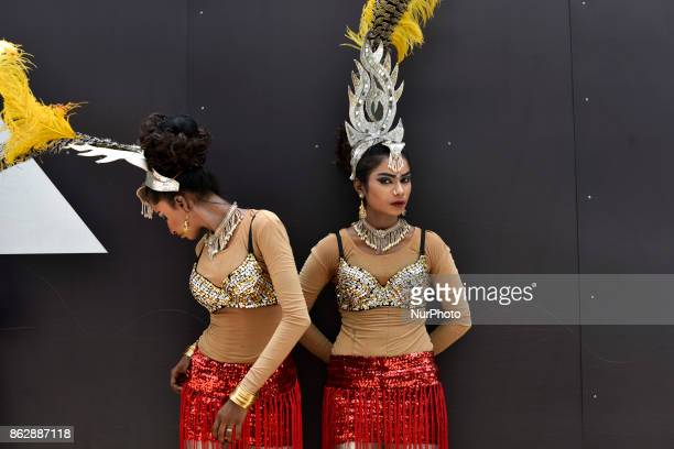 Participants of Diwali celebrations pictured at backstage during the Diwali Celebrations on October 18 2017 at Brickfield In Kuala Lumpur Malaysia...