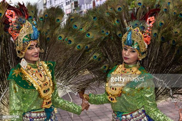Participants of Diwali celebrations pose for picture during the Diwali Celebrations on October 18 2017 at Brickfield In Kuala Lumpur Malaysia...