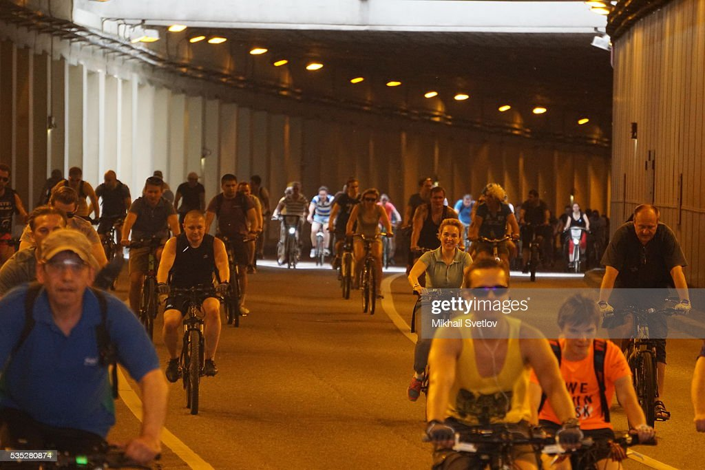 MOSCOW, RUSSIA - MAY, 29 (RUSSIA OUT) Participants of the All-Russian Bicycle Parade 2016 ride at the Garden Ring avenue in Moscow, Russia, May 29, 2016. 30 000 people took part in the parade, cycling 17 km around the central part of Moscow.