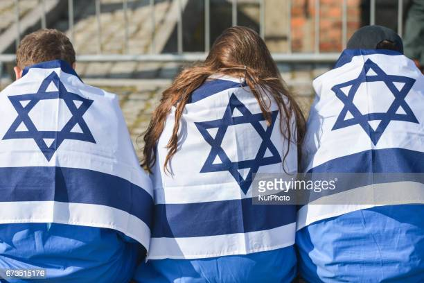 Participants of the annual March of the Living inside the former German Nazi Death Camp AuschwitzBirkenau Jewish people from Israel and around the...