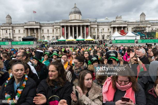Participants of the annual St Patricks Day at London's Trafalgar Square on March 19 2017 in London England PHOTOGRAPH BY Wiktor Szymanowicz /...