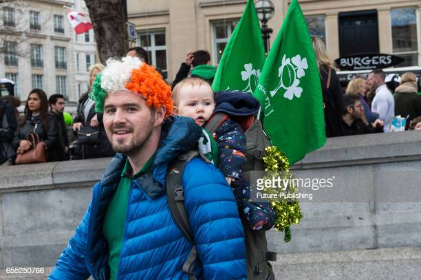 Participants of the annual St Patricks Day on March 19 2017 in London England Many London Irish communities performers and dance and music groups...