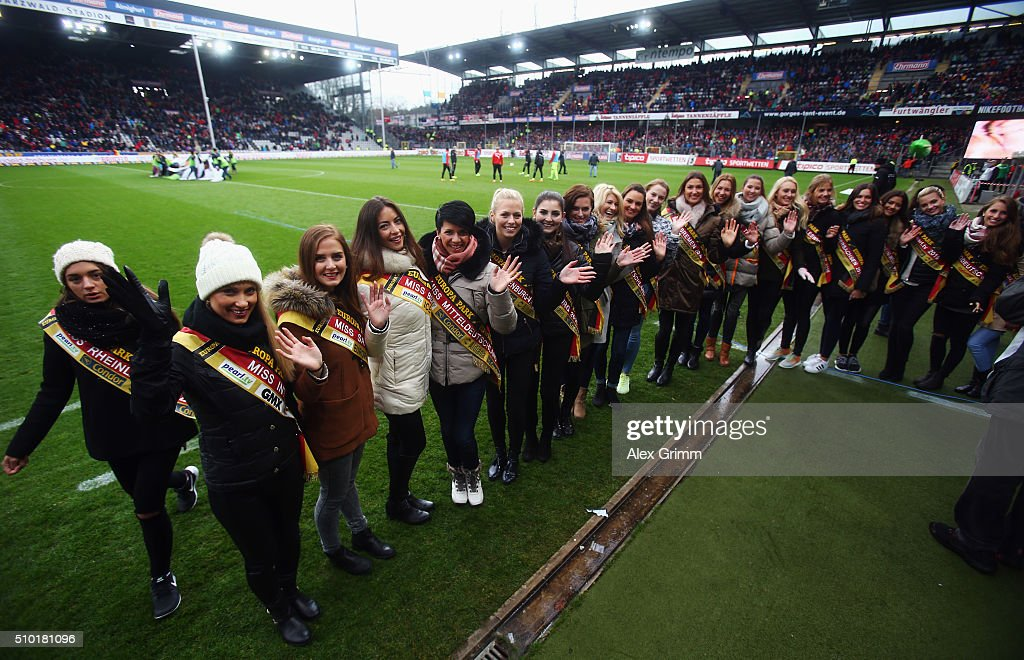 Participants of the Miss Germany contest pose during the Second Bundesliga match between SC Freiburg and Fortuna Duesseldorf at Schwarzwald-Stadion on February 14, 2016 in Freiburg im Breisgau, Germany.