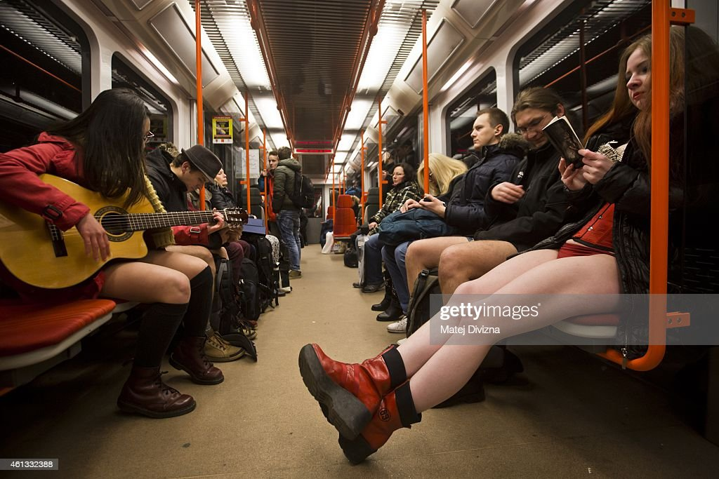 Participants of the No Pants Subway Ride ride a train on January 11 2015 in Prague Czech Republic The annual event in which participants board a...
