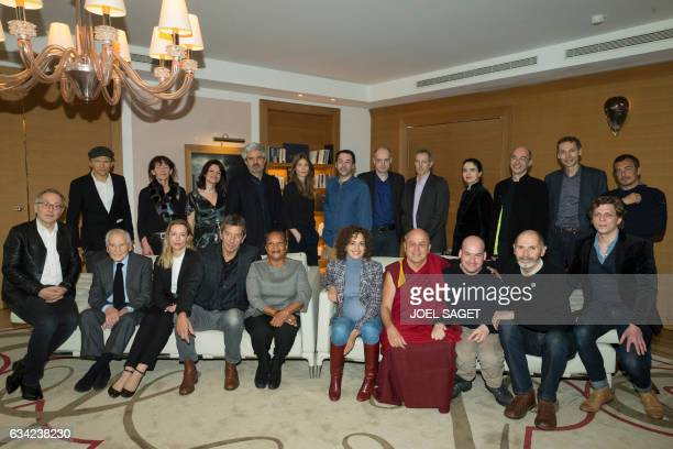 Participants of the RTLL'Express Prize French actor Fabrice Luchini French author and member of the Academie Francaise Jean d'Ormesson French writer...