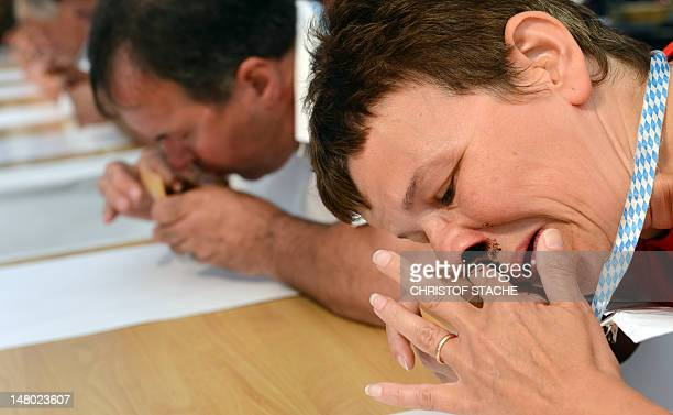 Participants of the Snuff World Championship sniff smokeless tobacco on July 7 2012 in Peutenhausen southern Germany About 300 men and women try to...