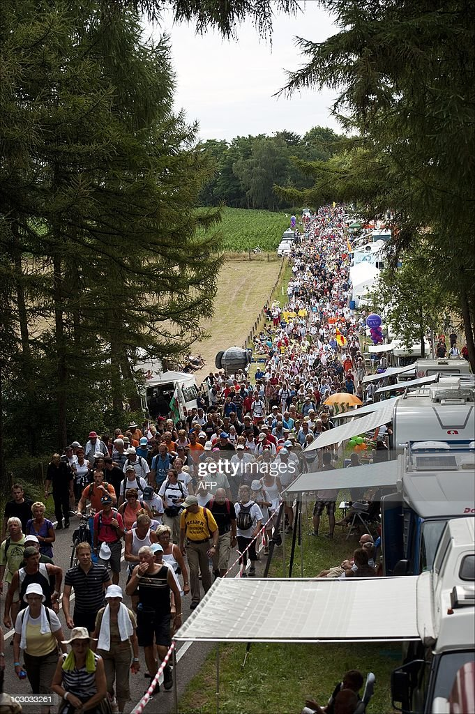 Participants pass the Seven hills road in Groesbeek The Netherlands on the third day of the Nijmegen International FourDay Marches on July 22 2010...