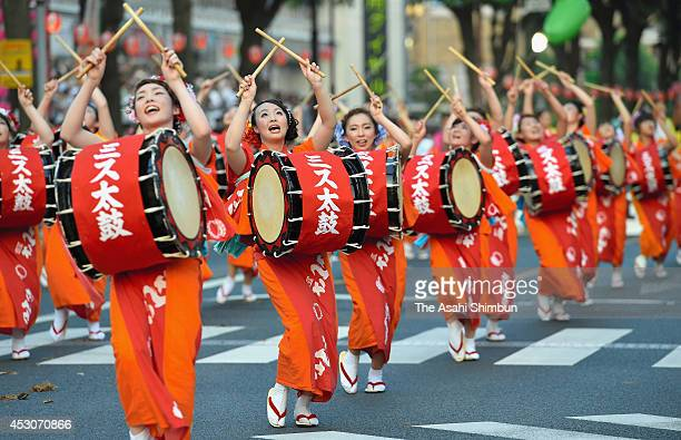 Participants perform during the Morioka Sansa Festival on August 1 2014 in Morioka Iwate Japan The festival continues till August 4