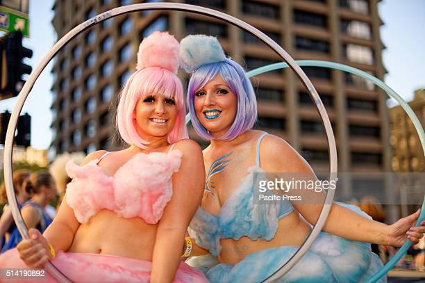 STREET SYDNEY NSW AUSTRALIA Participants pose prior to the start of the Sydney Gay and Lesbian Mardi Gras Parade along Oxford Street in Sydney More...