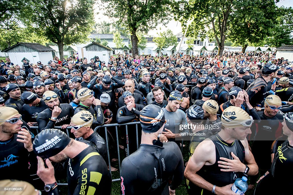 Participants prepares for the the swim leg or the Ironman Austria on June 26, 2016 in Klagenfurt, Austria.