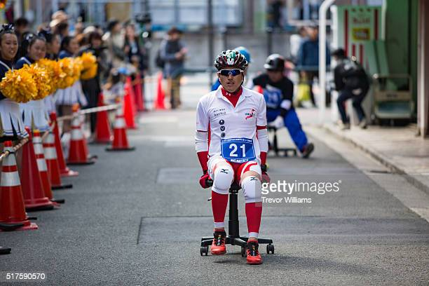 Participants race backwards during the ISU1 Grand Prix on March 26 2016 in Kyotanabe Japan In the Isu1 Grand Prix or chairone grand prix a two hour...