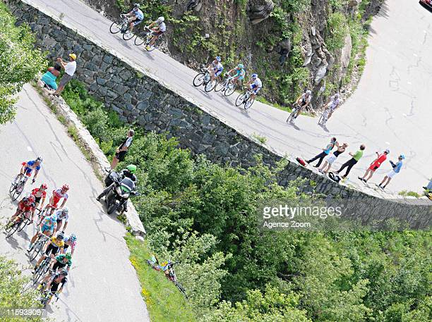 Participants race during Stage 7 of the Criterium du Dauphine on June 12 2011 between Pontcharra and La Toussuire France