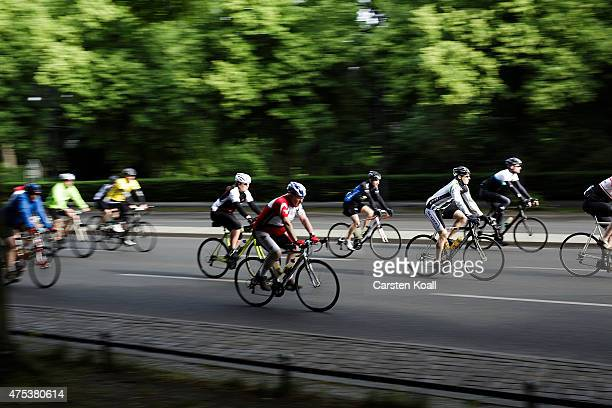 Participants ride a bike part at the 8th Garmin Velothon on May 31 2015 in Berlin Germany Ten thousand bike enthusiasts drove routes with distances...