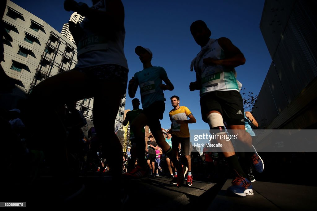 Participants run during the start of the 2017 City to Surf on August 13, 2017 in Sydney, Australia.
