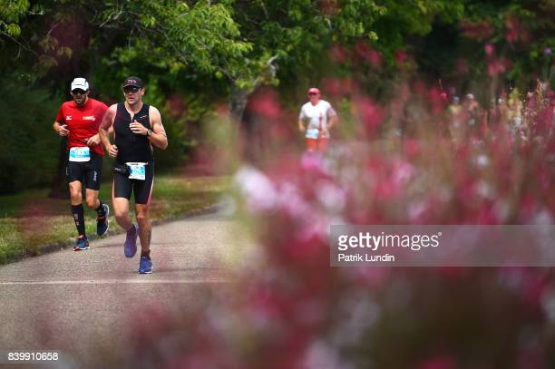 Participants run in the IRONMAN Vichy on August 27 2017 in Vichy France