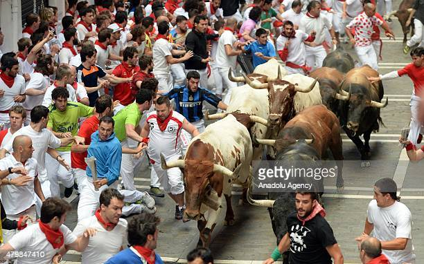 Participants run with fighting bulls during the second bullrun of the annual San Fermin Festival in Pamplona Spain on July 08 2015