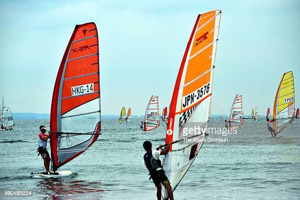 Participants sails during the 2015 Asian Windsurfing Championships at Enoshima on September 27 2015 in Fujisawa Kanagawa Japan