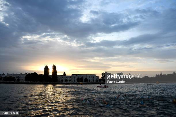 Participants swim during IRONMAN Vichy on August 27 2017 in Vichy France