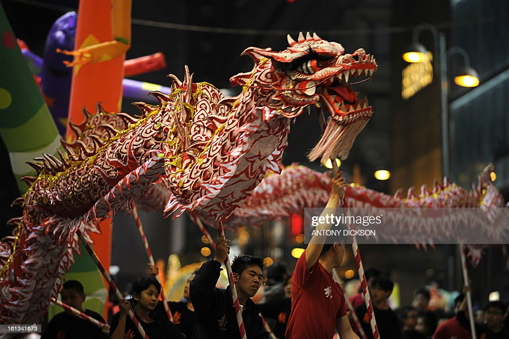 Participants take part in a dragon dance for the Chinese lunar new year parade through the streets of Hong Kong on February 10, 2013. Chinese lunar new year, celebrated by Chinese communities the world over, falls on February 10 with the beginning of the new moon. AFP PHOTO / Antony DICKSON